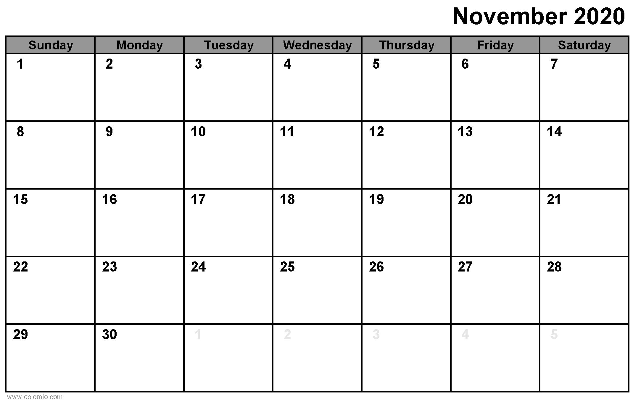 November 2020 Calendar printable