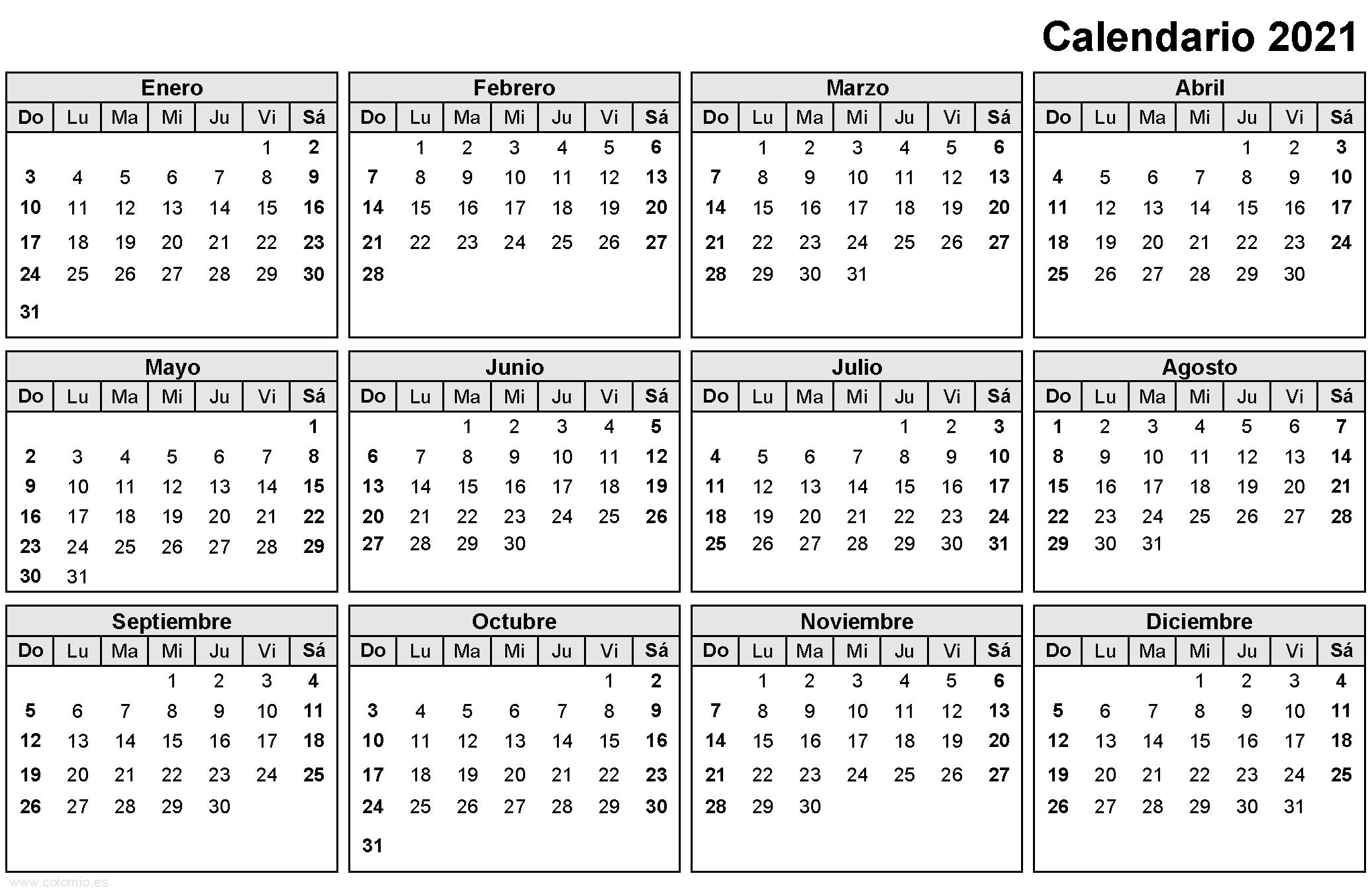 Calendario 2021 para imprimir