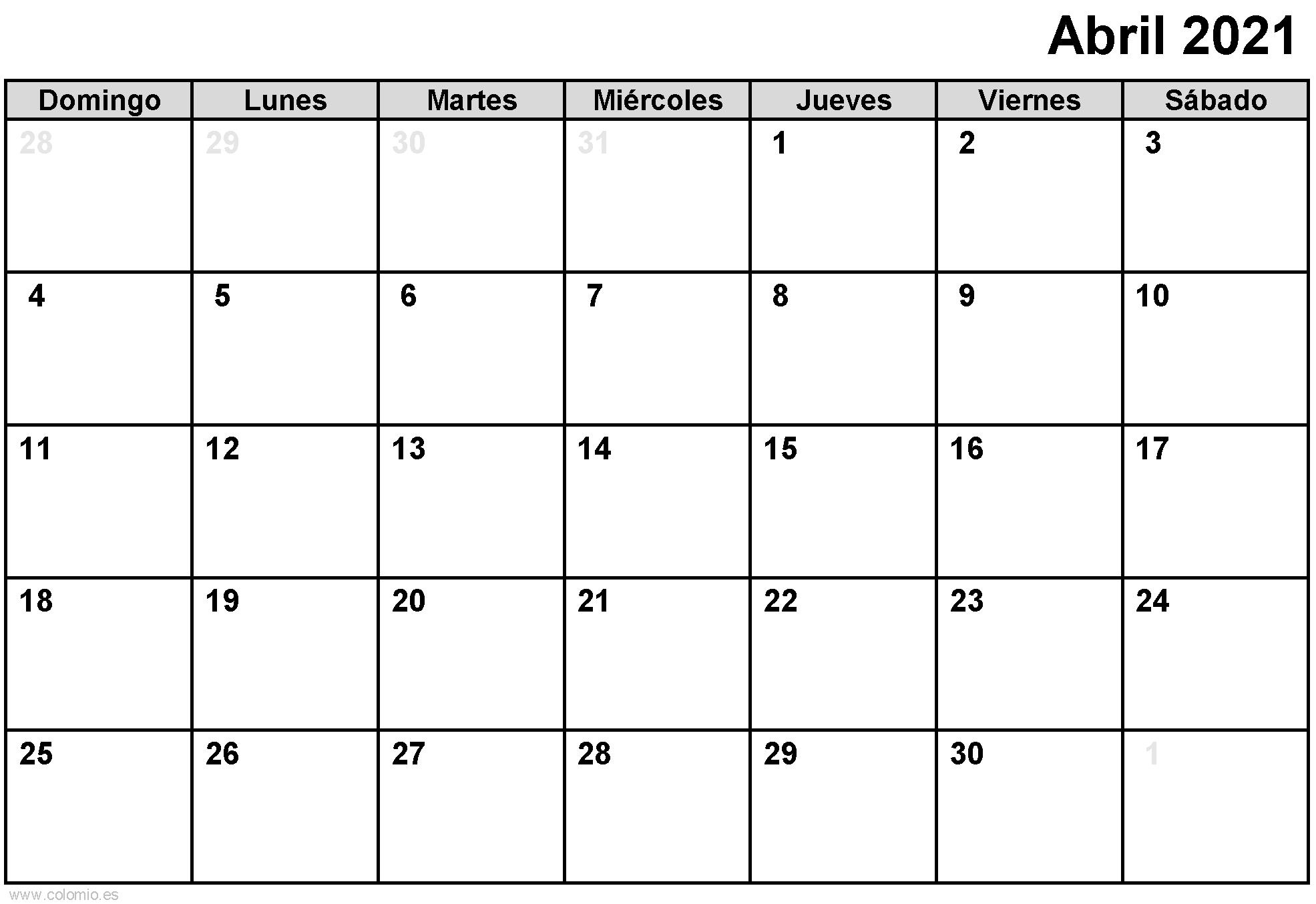 Calendario Abril 2021 para imprimir