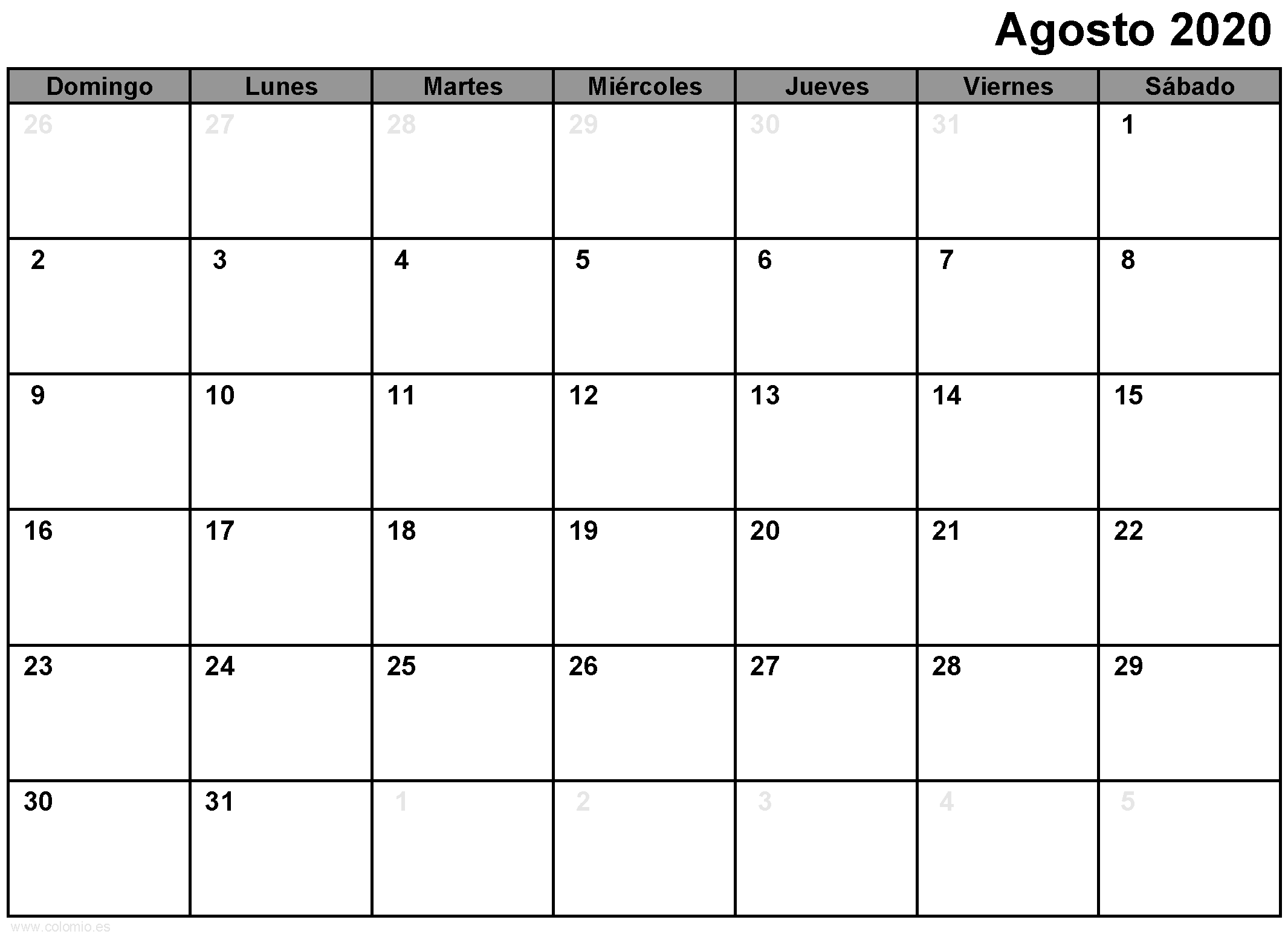Agosto 2020 Calendar para imprimir