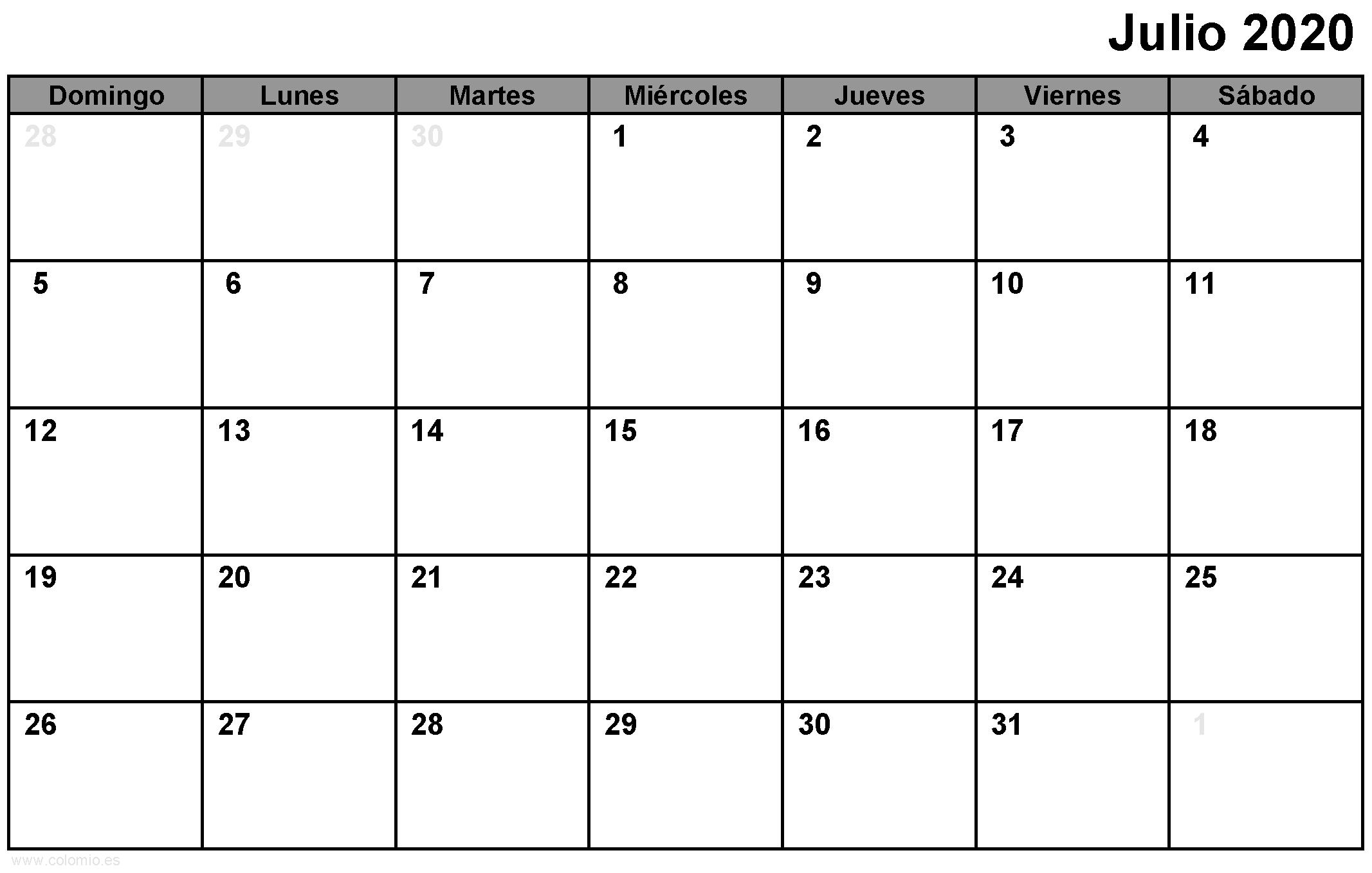 Calendario Julio 2020 para imprimir