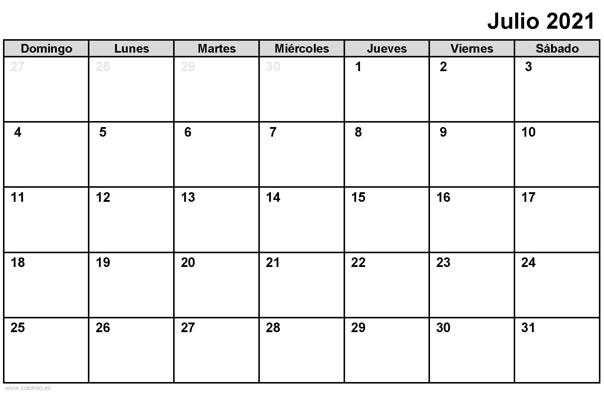 Calendario Julio 2021 para imprimir