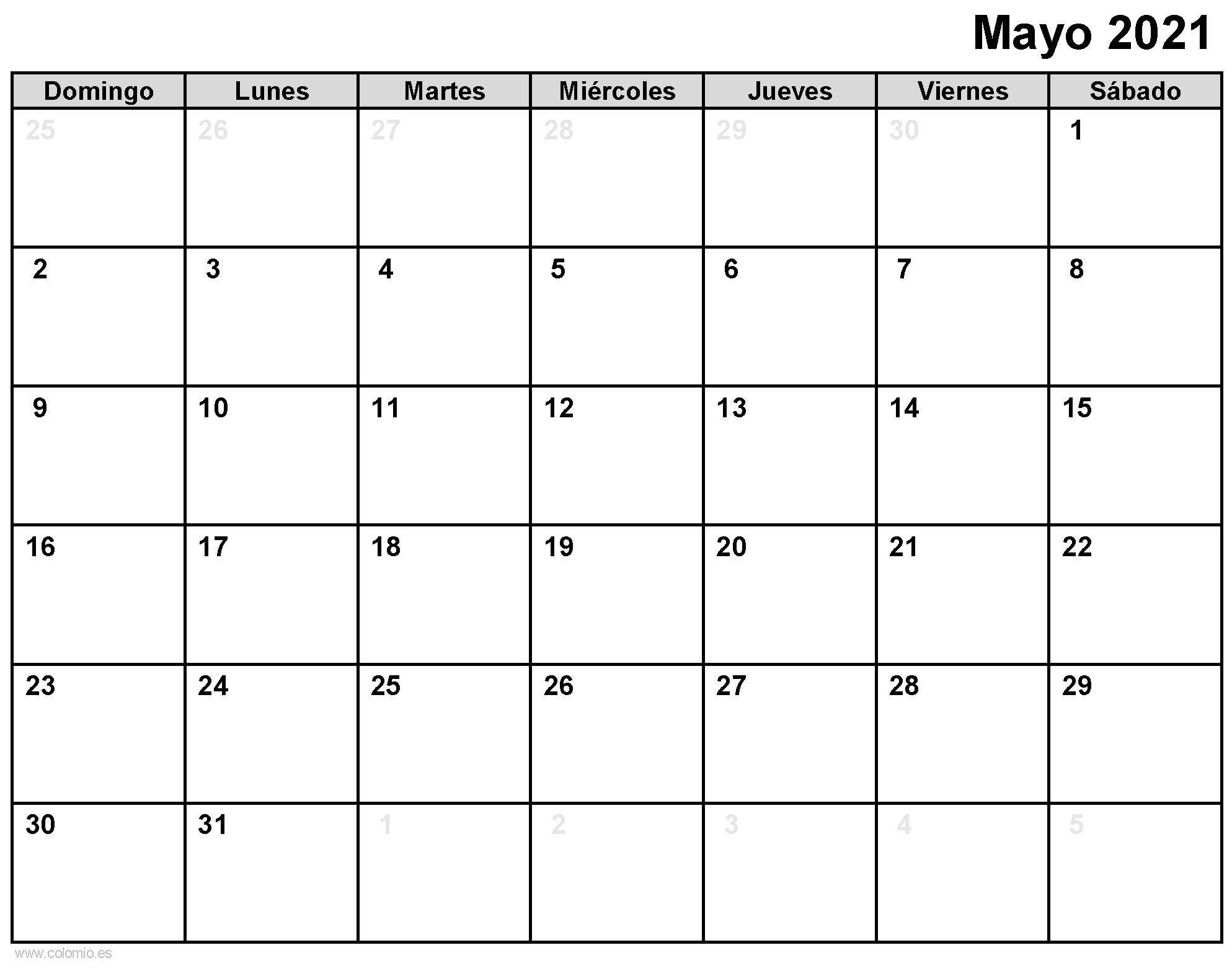 Calendario Mayo 2021 para imprimir