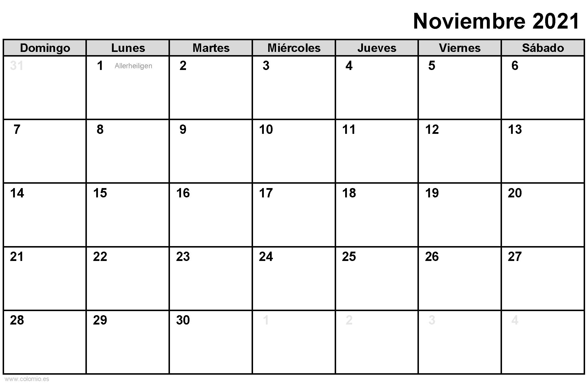 Calendario Noviembre 2021 para imprimir