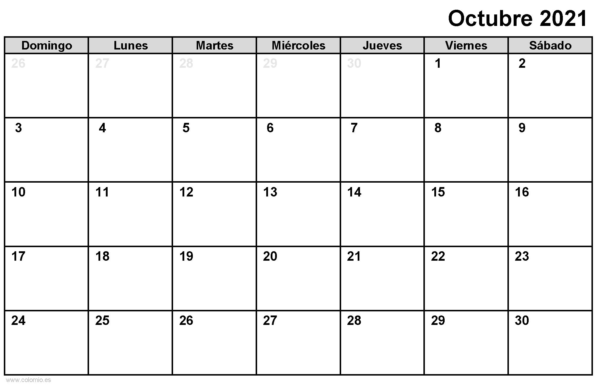 Calendario Octubre 2021 para imprimir