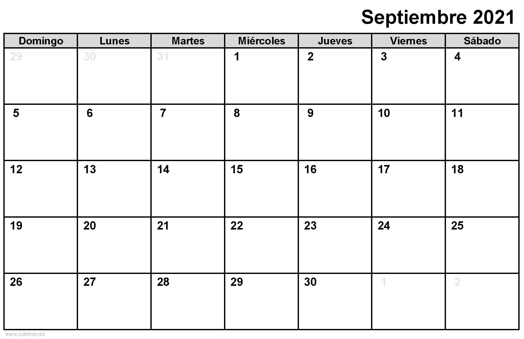Calendario Septiembre 2021 para imprimir