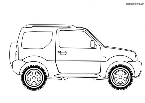 Allrad Geländewagen Malvorlage