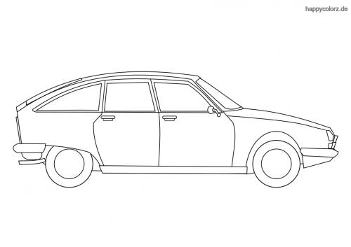 Auto Schrägheck Ausmalbild