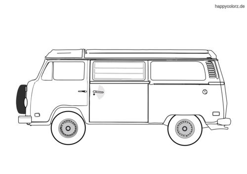 Camper-Bulli ausmalen