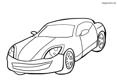 Einfacher Sportwagen Ausmalbild