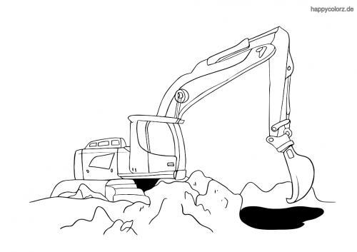 Bagger auf der Baustelle Malvorlage