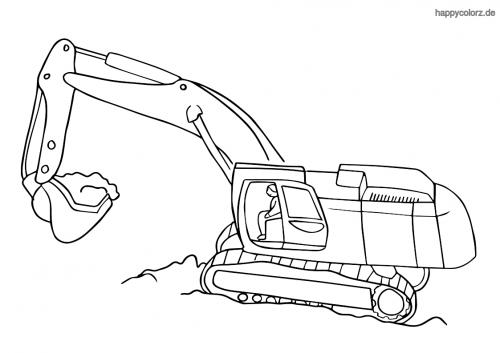 Raupenbagger mit Baggerfahrer Ausmalbild