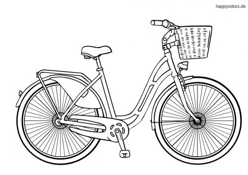 Damen Fahrrad mit Korb Malvorlage