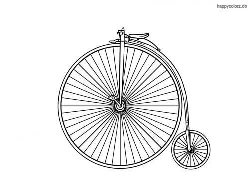 Hochrad-Fahrrad Ausmalbild