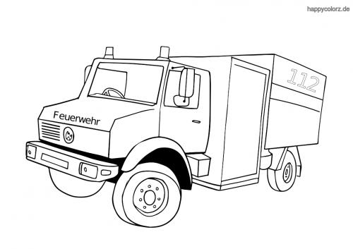 Feuerwehr Gerätewagen Malvorlage