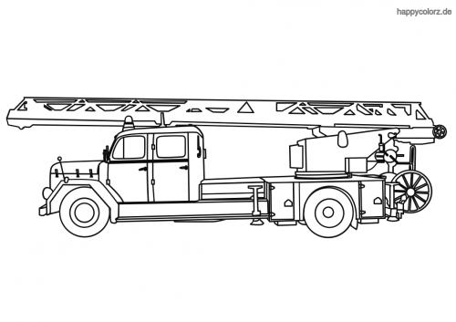 Feuerwehrauto mit Drehleiter Malvorlage