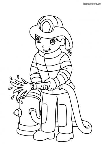 Feuerwehrmann mit Schlauch und Hydrant Malvorlage