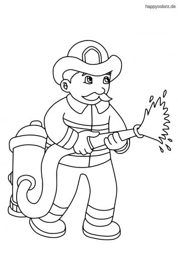 Feuerwehrmann mit Schlauch Malvorlage