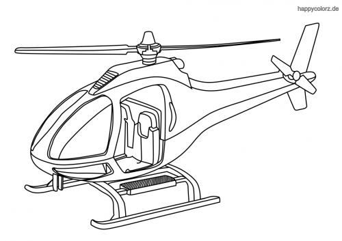 Einfacher Hubschrauber mit Kufen Ausmalbild