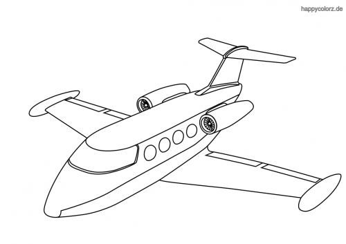 Einfaches Verkehrsflugzeug Ausmalbild