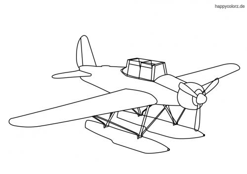 Einfaches Wasserflugzeug mit Schwimmer Malvorlage