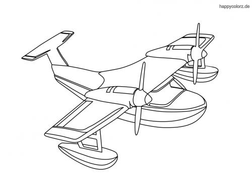 Einfaches Wasserflugzeug Ausmalbild