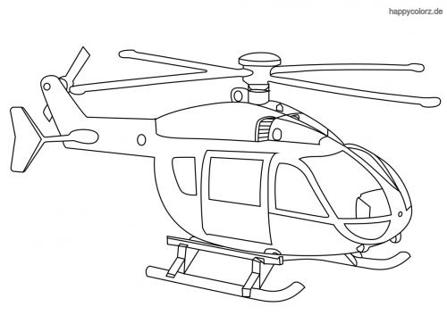 Hubschrauber mit Kufen Ausmalbild