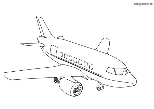 Passagierflugzeug Ausmalbild