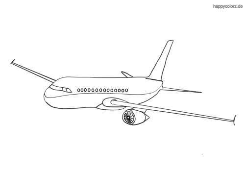 Verkehrsflugzeug Ausmalbild