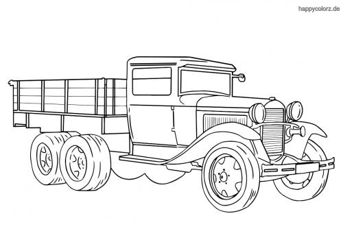 LKW Dreiachser 30er Jahre Malvorlage