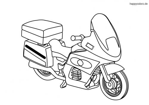 Einfaches Polizeimotorrad  Ausmalbild