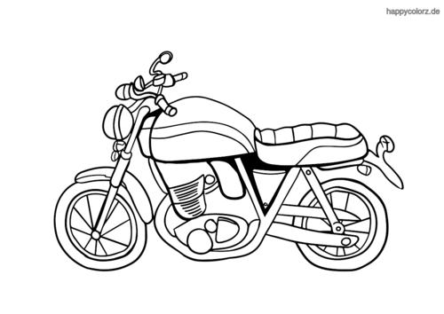 Klassisches Motorrad Malvorlage