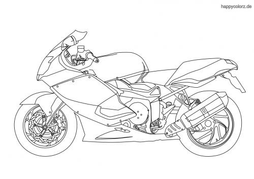 Sport-Motorrad  Ausmalbild