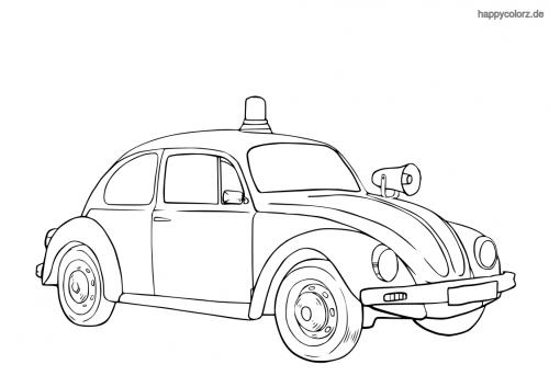 Polizeiauto 50er Jahre Ausmalbild