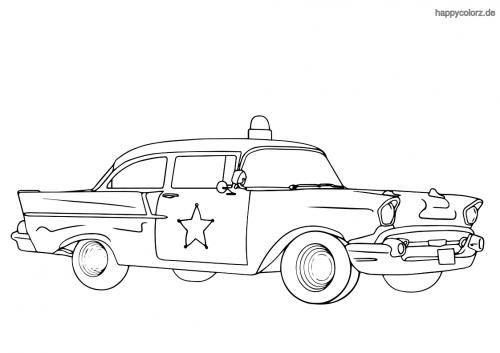 Polizeiauto USA 50er Jahre Highway Patrol Ausmalbild