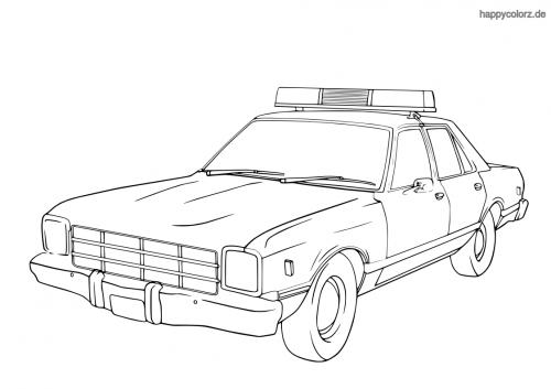 Polizeiauto USA 60er Jahre Malvorlage