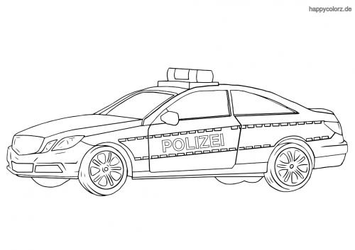 Polizeiauto Coupé Ausmalbild