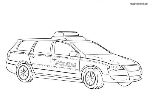 Polizeiauto-Kombi Ausmalbild
