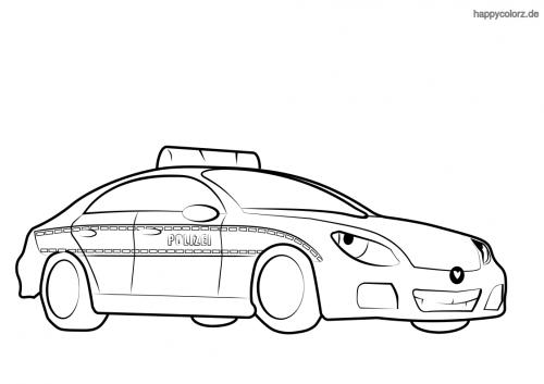 Polizeiauto mit Gesicht Malvorlage
