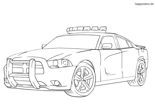 Polizeiauto USA Ausmalbild