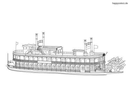 Dampfschiff mit Schaufelrad Ausmalbild