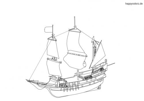 Einfaches Segelschiff Malvorlage