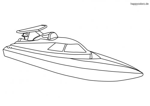 Einfaches Speedboot Malvorlage