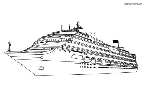 Großes Kreuzfahrtschiff Ausmalbild