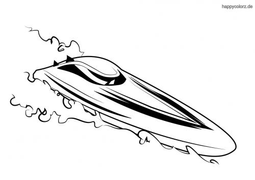 Langes Rennboot Malvorlage