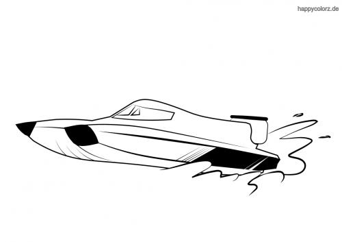 Rennboot Ausmalbild