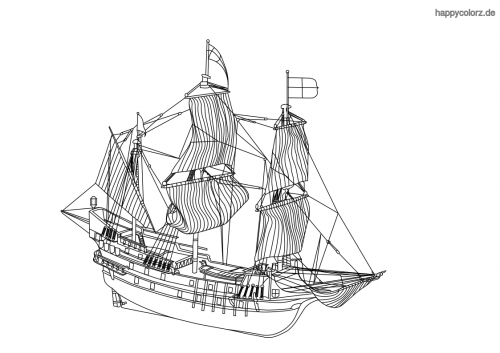 Schweres Segelschiff Ausmalbild