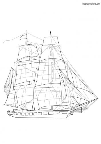Segelschiff Fregatte Malvorlage