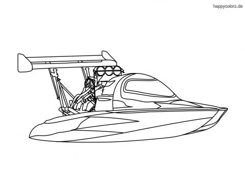 Speedboot Ausmalbild