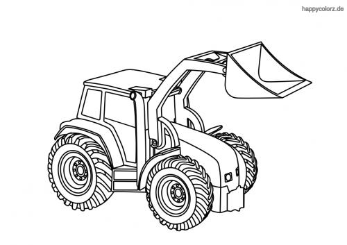 Einfacher Traktor mit Schaufel Ausmalbild